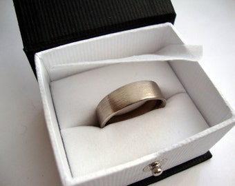 Mens brushed wedding band- 14k palladium white gold band ring 7mm wide