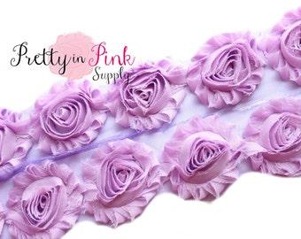 LILAC Shabby Rose Trim - Shabby Chiffon Rosettes -2 Flowers, 1/2 Yard or 1 Yard - Shabby Flower Trim - Wholesale Shabby Flow