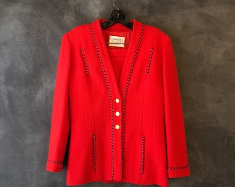 1980s Red Chanel Tweed Suit Mini Skirt Blazer Nautical Ladies Size 36