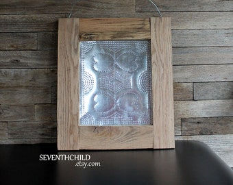 Oak Framed Tin Punch - Hearts & Banners Pattern - Pie Safe Panel - Primitive - Hand Punched Panel