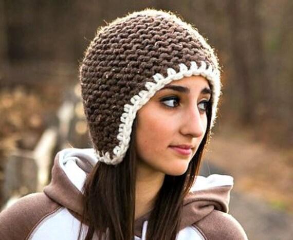 Knit Hat Brown Womens Hat - Garter Helmet Brown Ear Flap Hat in Barley Brown Knit Hat - Brown Hat Brown Beanie Womens Accessories Winter Hat