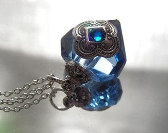 Perfume Bottle Necklace Blue Diamond Essential Oil / Perfume Bottle Necklace