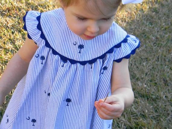 Girls South Carolina Palmetto Tree Seersucker Angel Sleeve Dress