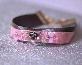 Swarovski crystal bracelet bead embroidery bracelet, grey pink satin ribbon bracelet czech glass beaded bracelet boho bracelet cuff bracelet