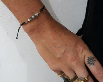 Lunar Lady Bracelet (Moonstone and Labadorite tiny stone Bracelet)