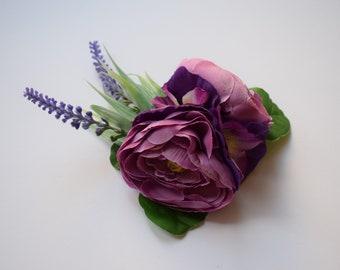 Vintage hair flower, flower hair clip, hair flower, pin up flower, bridal, ranunculus, pansy, viola, lavender, fascinator, boho, wedding