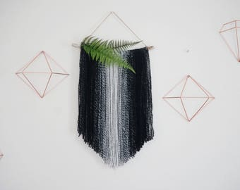 Wall Hanging, Black and Ivory, Boho, Modern Bohemian, Ombre