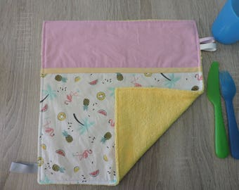 "napkin ""Flamingo"" reversible cotton Terry"