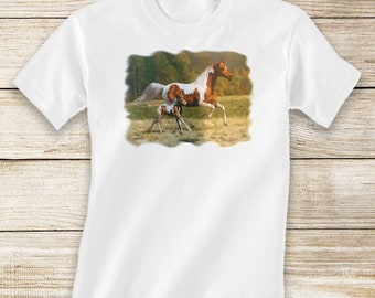 Running Paint Mare and Foal Short Sleeve/Long Sleeve Horse Shirt for Toddlers