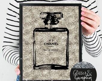 Abstract perfume bottle paris rose faux silver glitter, art print , home decor, Fashion Print, gift idea