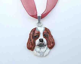 Dog Breed CAVALIER King Charles Handpainted Clay Necklace/Pendant CHOOSE Blenheim or Tri Color