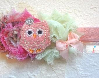 Baby Headband / Pink Floral Mint Owl Girls headband /  Pink Mint Owl Girls headband / Baby Headbands / Baby Photo Props, infant headband