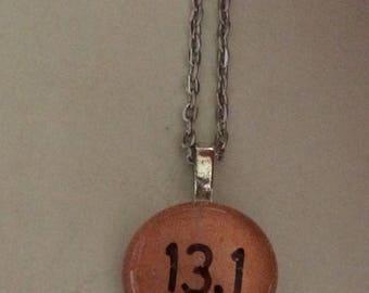 13.1 Half Marathon Running  Art Glass Pendant Necklace - Runners jewelry Running jewelry