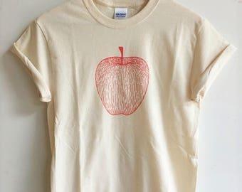 Apple T-Shirt, Foodie Gift, Screen Printed T Shirt, Clothing Gift, Gardening Gift