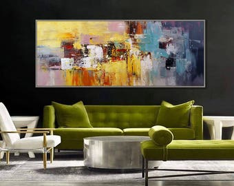 """Abstract Contemporary Painting Panoramic Palette Knife , Light Blue Yellow Modern Wall Art  27x72""""/70x180cm"""