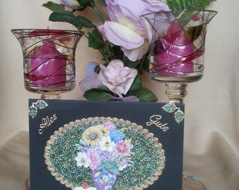 3d greeting card with bouquet of flowers