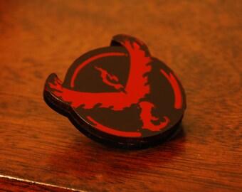 Handmade Acrylic Team Valor Pokemon Go Badge Pin