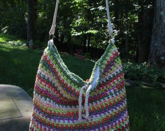 Cotton Tote Bag Crocheted in Multi Colors Lined