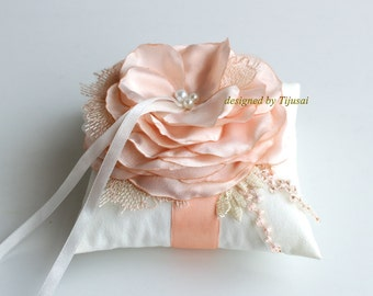 Wedding ring bearer pillow with pink/peach flower ---wedding rings pillow , ring bearer pillow