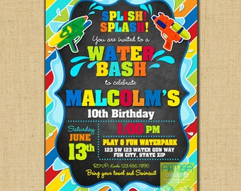 Water Gun Party Invitation, Splish Splash invitation, Water bash invitation, water gun birthday, pool birthday invitation, water bash invite