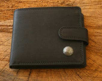 Football Leather Wallet Brown or Black Leather Football Gift