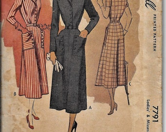 McCall 7791 Vintage 1940s Belted Dress Sewing Pattern Size 14 Bust 32