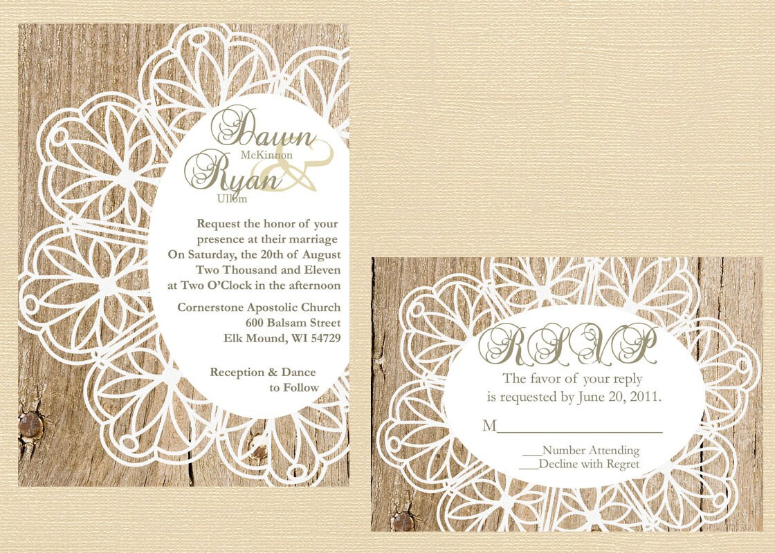 Rustic Lace Doily Wedding Invitation Vintage Lace Wedding
