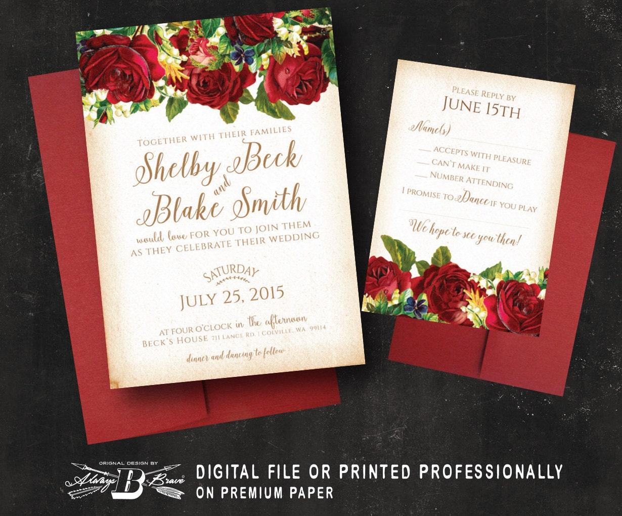 Marsala Red Rose Wedding Invitation SET Vintage Floral