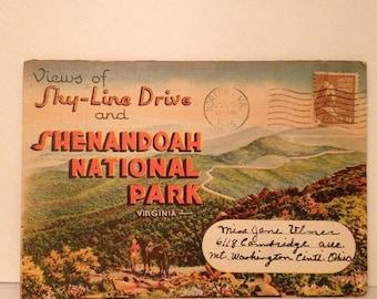 ON SALE Shenandoah National Park Sky-Line Drive Virginia Old Vintage 1945 Postcard Booklet 1940's Mailed Postmarked