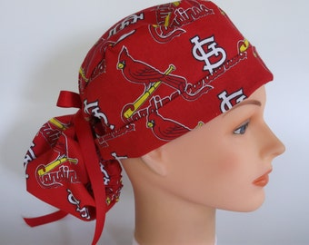 St. Louis Cardinals fabric  Red Ponytail - Womens lined surgical scrub cap, scrub hat, Nurse surgical cap, F-2160 W