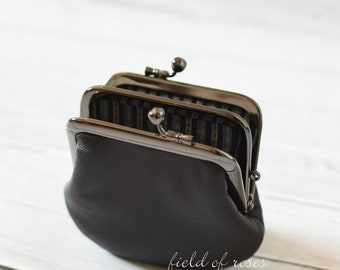 2 section Frame Coin Purse Black Leather with Japanese Silk Stripes Kimono Lining 2 Compartment Double Coin Purse with Divider