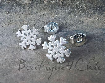 Snowflake earrings, silver, small, delicate
