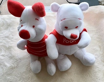 4th Of July Peppermint Pooh And Piglet,The Disney Store, Plush Mini Bean Bags Collectables: