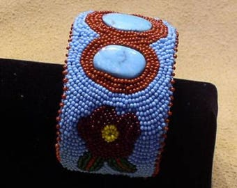Beaded Cuff Bracelet with White Water Turquoise