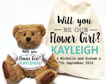 Will you be our Flower Girl? Personalised teddy bear gift | Wedding day favour gift.