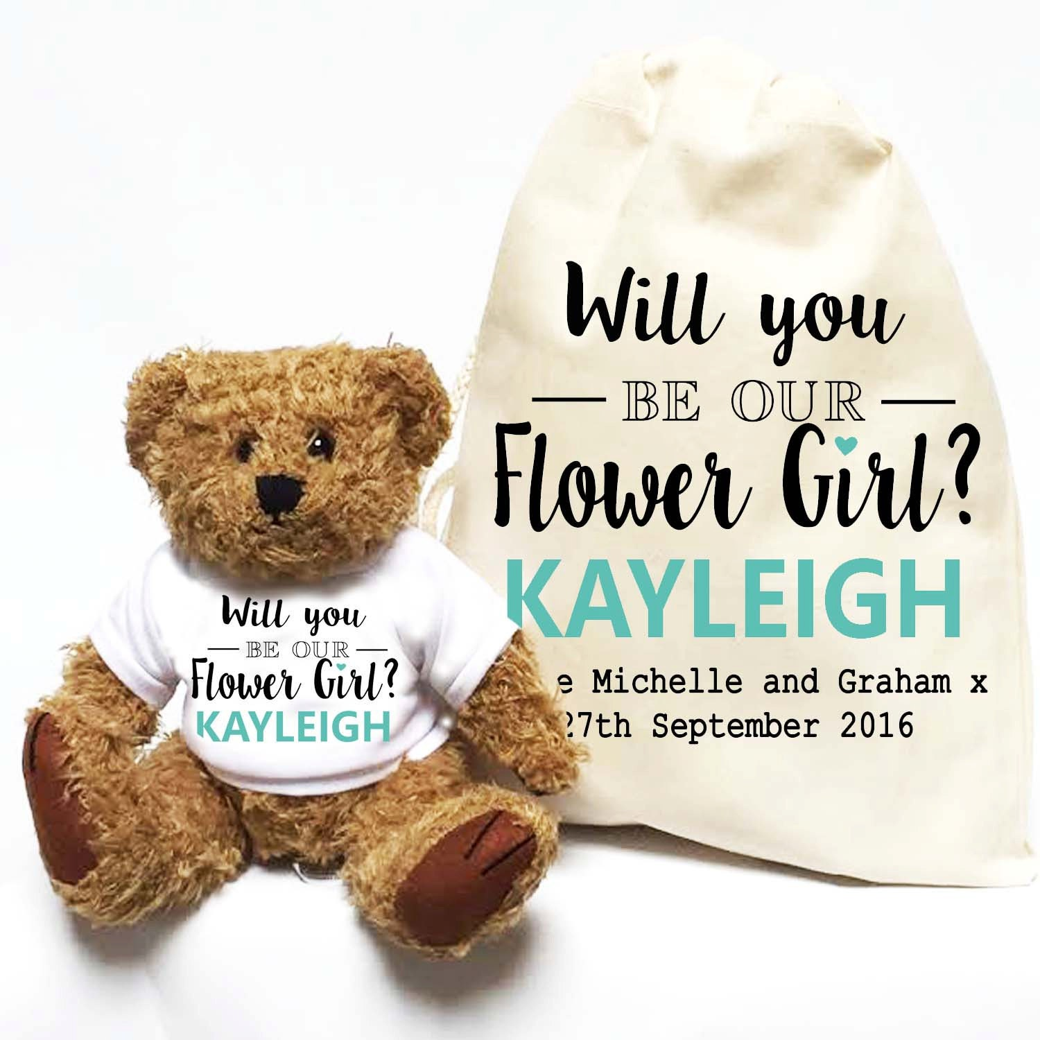 Will you be our Flower Girl Personalised teddy bear gift