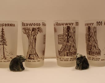 Vintage 1950's California Redwood Highway 101 Frosted Souvenir Glasses Set Of Four