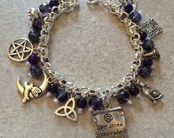 Wicca jewellery , pagan jewellery , wicca bracelet , amethyst jewellery ,handmade pagan jewellery , rule of three , wiccan rede