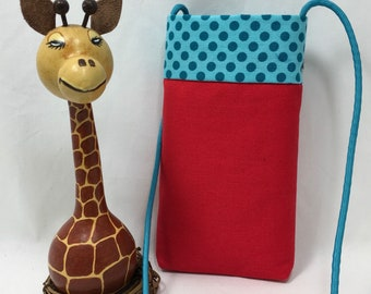 Cell Phone Pouch, Cross body Phone Pouch, Red Pouch with Turquoise Polka Dot Top