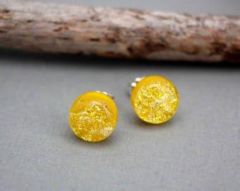 Yellow Earrings - Sterling Silver Earrings Studs - Jewelry Gift For Women - Unique Earrings Studs - Spring Jewelry - Yellow Jewelry
