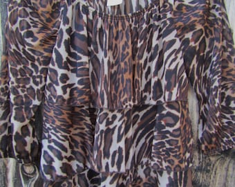 Animal Print ~ Organza Sheer ~ Stylish ~ Vintage ~ 3 Tiered Front ~ Awesome ~ Blouse ~ Women's Size Small