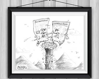 Paper Precipice Cartoon Signed Print