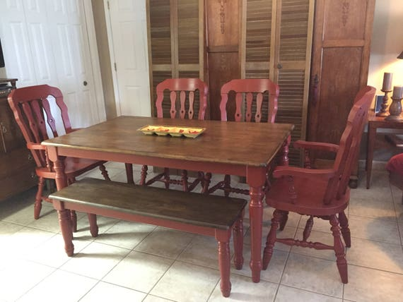 Dining Table and Chairs Hand Painted Red Rustic Distressed