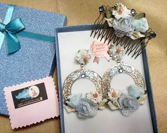 Earrings and Comb Set