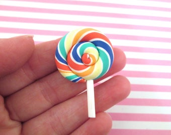 3 Rainbow Polymer Clay Lollipop Cabochons Fake Candy, #089