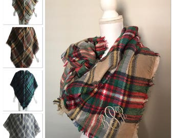 Monogrammed Blanket Scarf/ Personalized Blanket Scarf/ Monogram Scarf/ Blanket Scarf