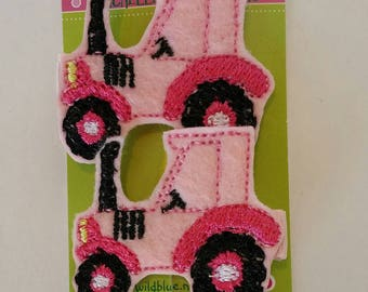Pink Tractor Felt Hair Clips