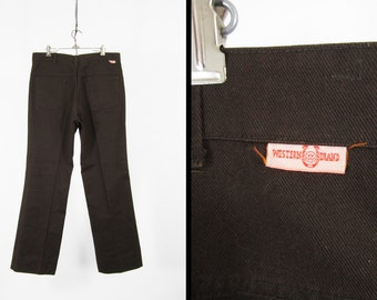 Vintage 70s Workwear Chinos Work Pants Brown Twill Western Trousers - 36 x 32