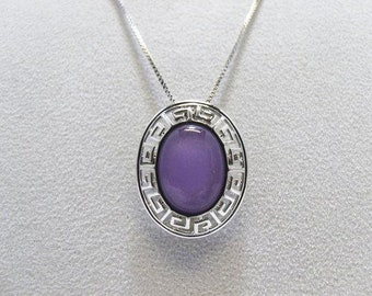 925 Purple Jade Pendant With A 925 18 Inch Italy Box Chain Both Signed