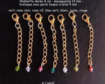 Metal clasp gold 12 mm with chain extension 4 cm + crystal bead charm